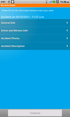 Nationwide's app allows you to upload pictures as well as provide other details about an accident.