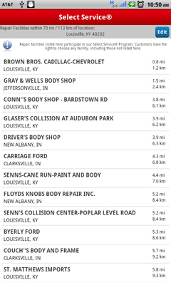 State Farm's smart phone app offers a list of repair shops you can use to get back on the road