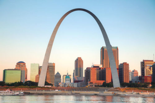 St Louis, Missouri with the Old Courthouse and the Gateway Arch at sunrise